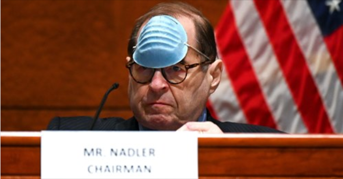 Jerrold Nadler with a mask on his forehead