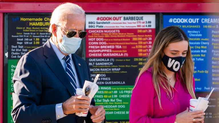 Joe Biden contemplating a milkshake